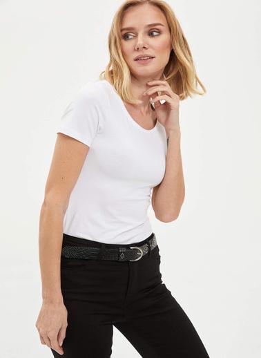 DeFacto Basic Kısa Kollu T-Shirt Beyaz